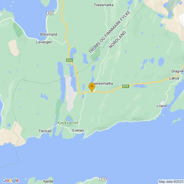 Google Map of 68.49219953248178,16.73011136873948