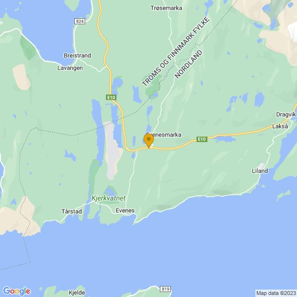 Google Map of 68.49224515259,16.73163642454416