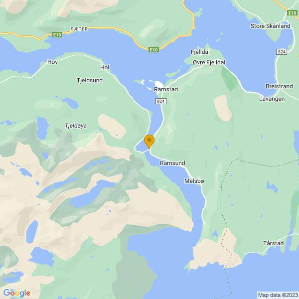 Google Map of 68.50769517925157,16.453852927757566