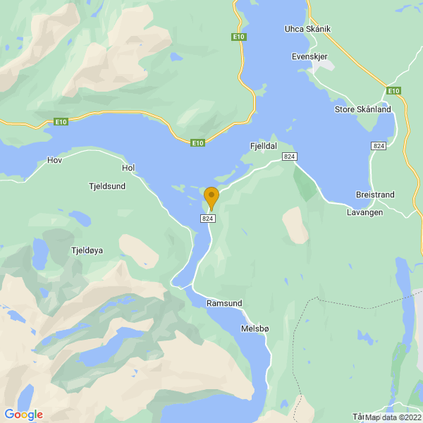 Google Map of 68.53361652533334,16.473496015992395