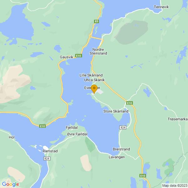 Google Map of 68.5836508,16.5728857