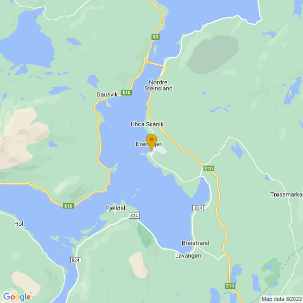 Google Map of 68.5849183,16.5728145