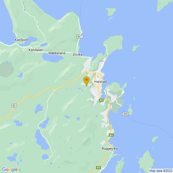 Google Map of 68.7944302,16.5086746