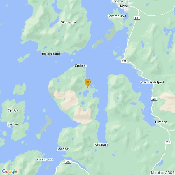 Google Map of 68.84597944473965,14.993841455781434