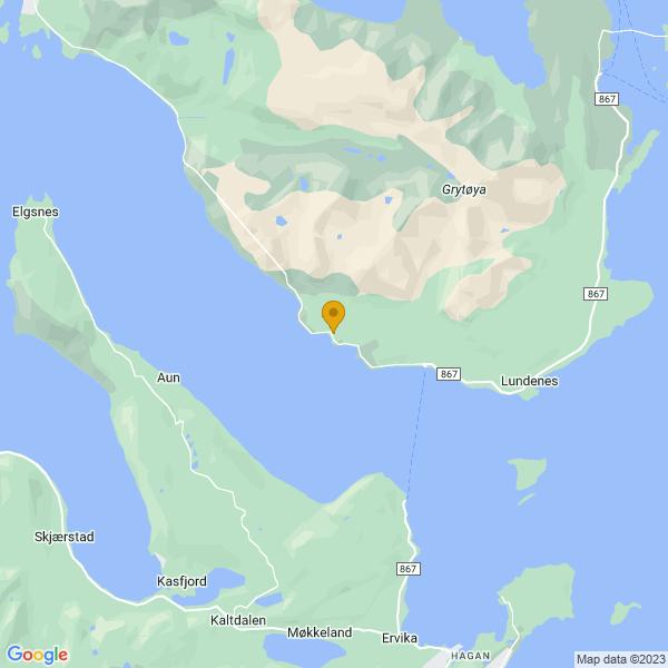 Google Map of 68.8894689,16.4463146