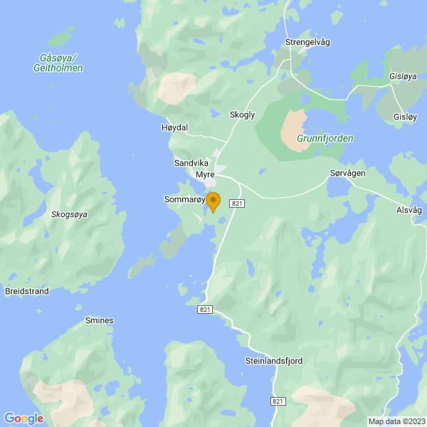 Google Map of 68.9015402,15.0874715