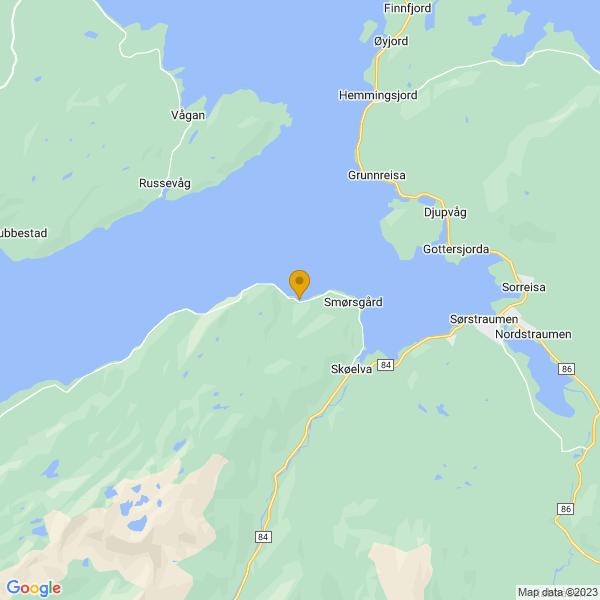 Google Map of 69.1487077,18.01474