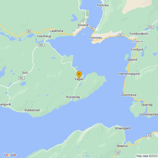 Google Map of 69.1938332,17.9380486