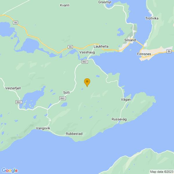 Google Map of 69.20423397214986,17.846125282077917