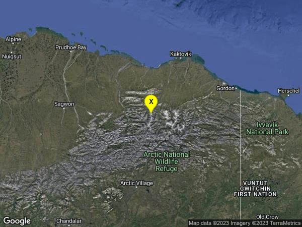 earthquake 105km SSW of Kaktovik, Alaska