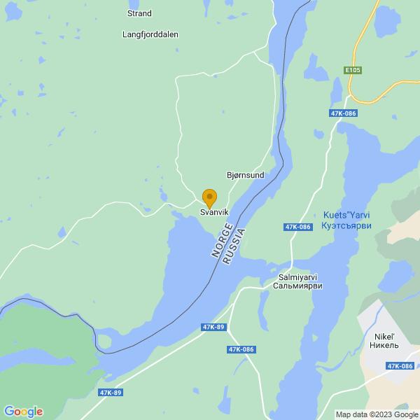 Google Map of 69.45455582428319,30.045439499682875
