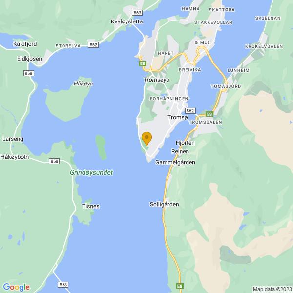 Google Map of 69.634811,18.911914300000035
