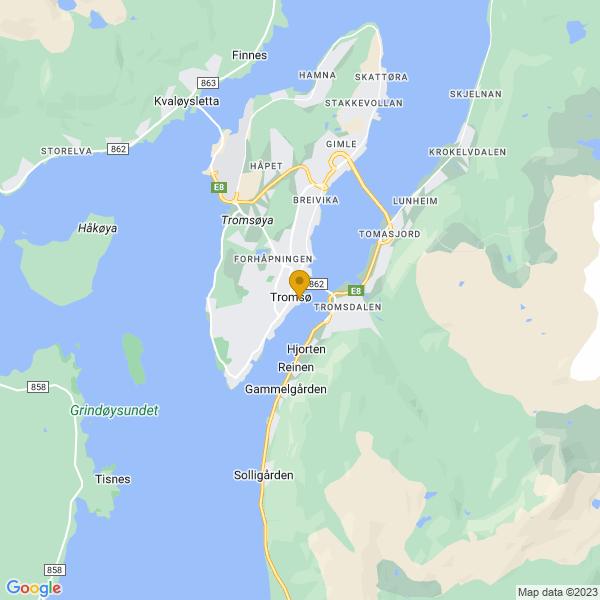 Google Map of 69.64856873097989,18.961499404202268