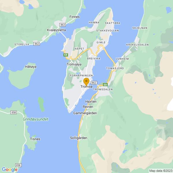 Google Map of 69.6492047,18.95532389999994