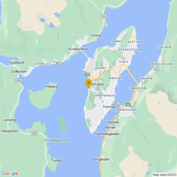Google Map of 69.6640727356859,18.90830499104868