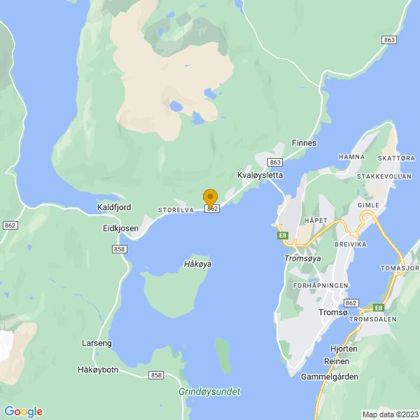 Google Map of 69.6841415,18.8348508