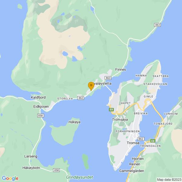 Google Map of 69.68999889999999,18.86016810000001