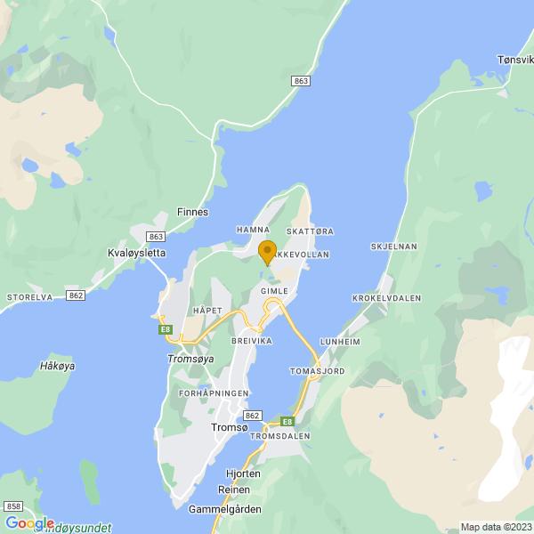 Google Map of 69.69223789075409,18.984483031773248