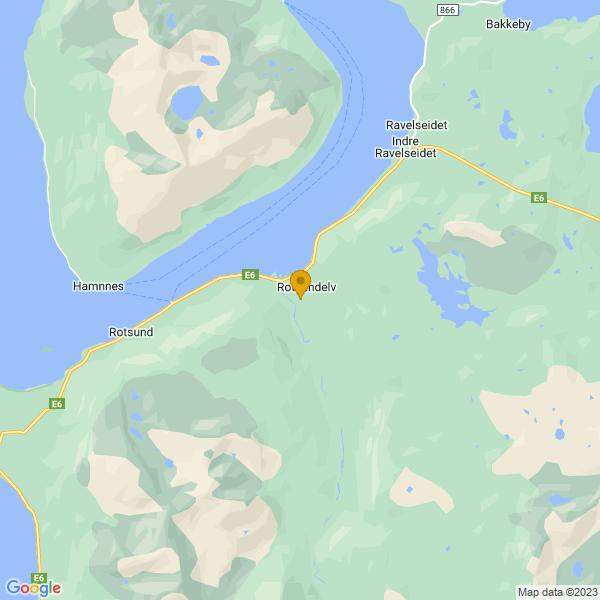Google Map of 69.78514160842927,20.706066827200292