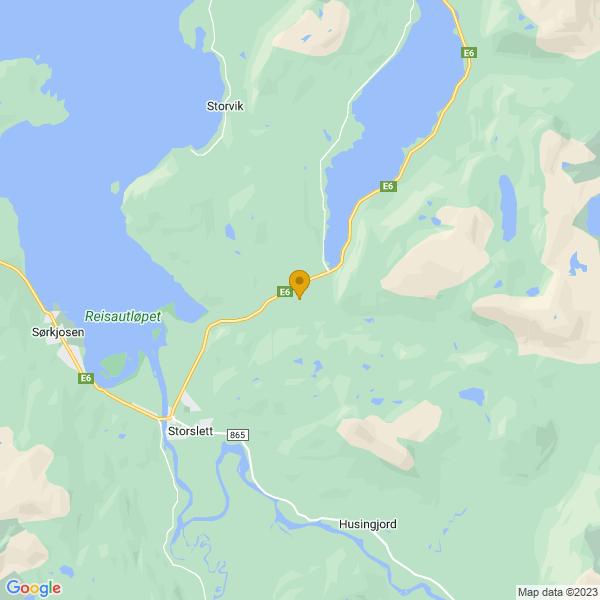 Google Map of 69.79571524632502,21.111949433984364