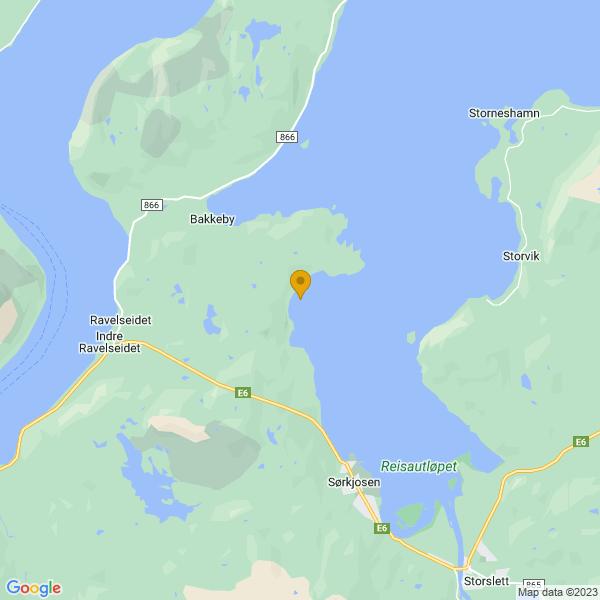 Google Map of 69.831249,20.9090691