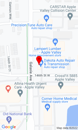 Google Map of Dakota Transmission & Auto Repair Inc. 6975 W 146th Street, Apple Valley, MN, 55124