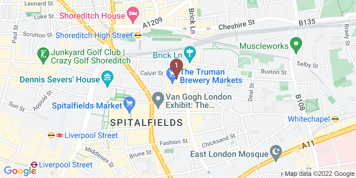 Google Map of 11 Dray Walk, Shoreditch, London, E1 6NJ