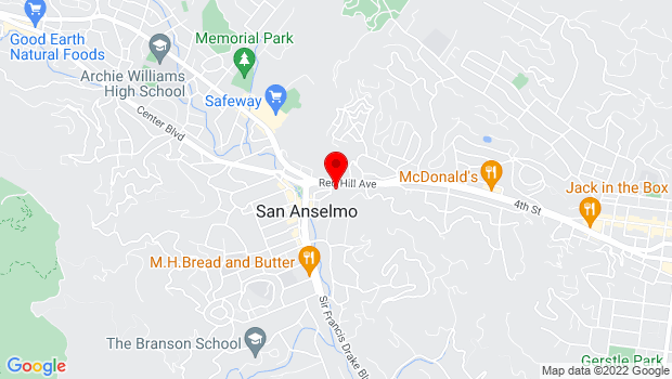 Google Map of 70 Greenfield Ave, San Anselmo, CA