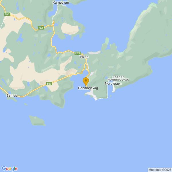 Google Map of 70.9838749,25.9652177