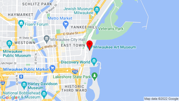 Google Map of 700 N. Art Museum Drive, Milwaukee, WI 53202