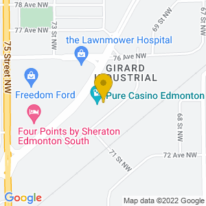 Map to Casino Edmonton provided by Google