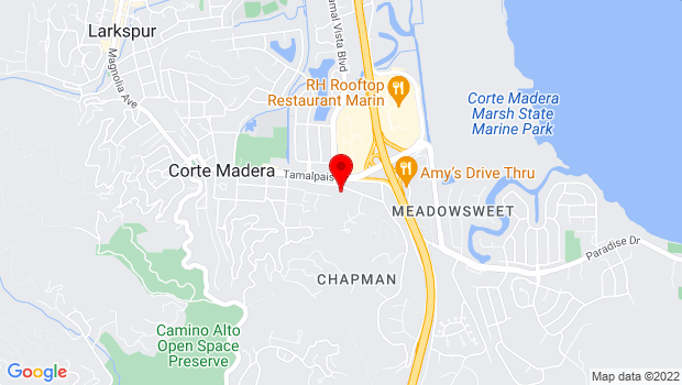 Google Map of 707 Meadowsweet Dr., Corte Madera, CA 94925