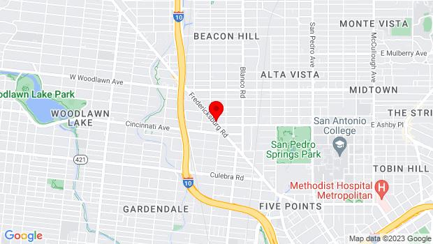 Google Map of 710 Fredericksburg, San Antonio, TX 78201
