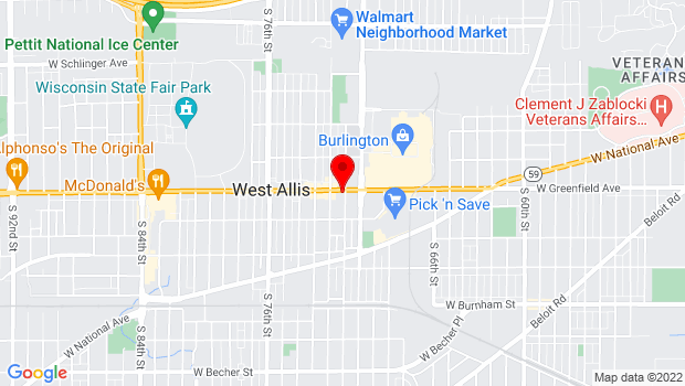 Google Map of 7105 W Greenfield, West Allis, WI 53214