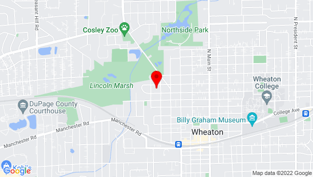 Google Map of 715 N. Carlton Ave., Wheaton, IL 60187