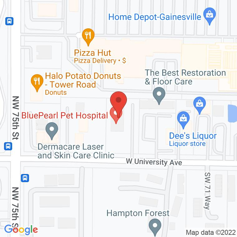 Google Map of 7314 W. University Ave., Gainesville, FL, 32607