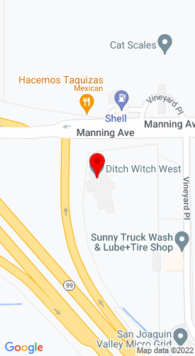 Google Map of Ditch Witch Central Carlifornia 7323 E Manning Avenue, Fowler, CA, 93625