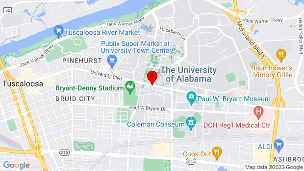 Google Map of 739 University Blvd, Tuscaloosa, AL 35401-1541