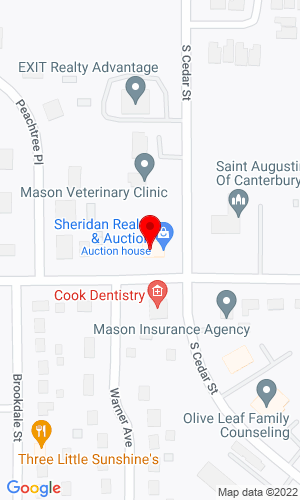 Google Map of Sheridan Realty & Auction Co.  740 S. Cedar St., Mason, MI, 48854