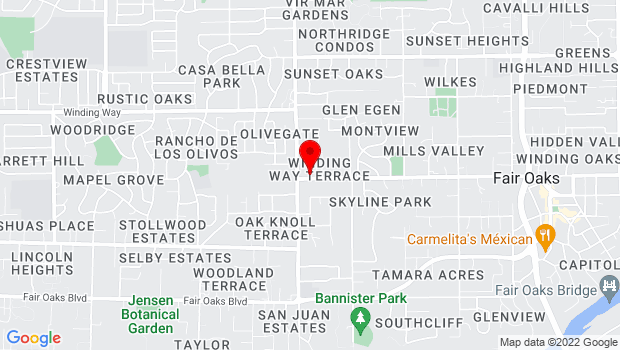 Google Map of 7425 Winding Way , Fair Oaks, CA 95628
