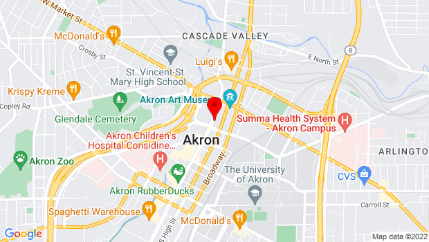 Google Map of 75 S. Main Street, Akron, OH 44308