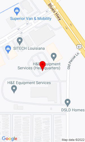 Google Map of H&E Equipment Services, Inc. 7500 Pecue Lane, Baton Rouge, LA, 70809