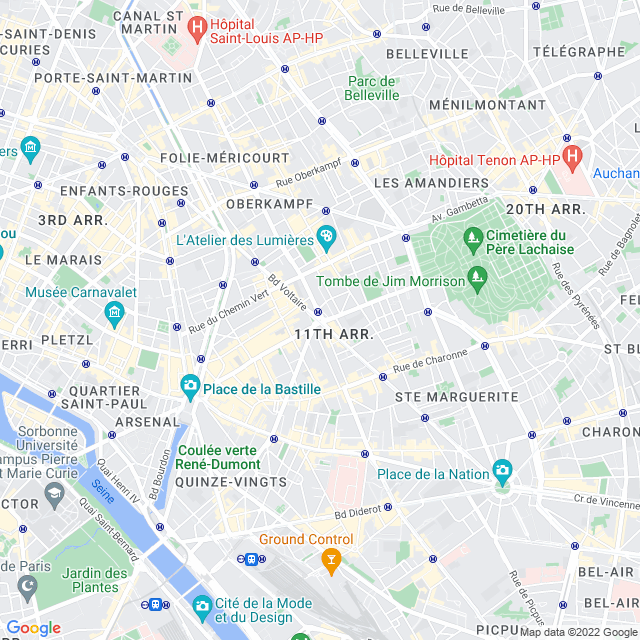 Carte de paris 11e  arrondissement