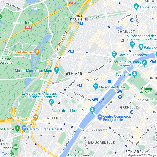 Carte de paris 16e  arrondissement