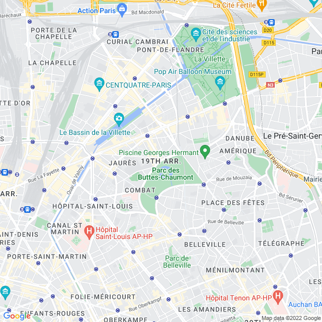 Carte de paris 19e  arrondissement