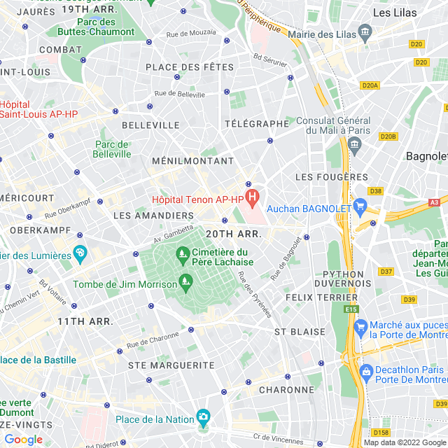 Carte de paris 20e  arrondissement