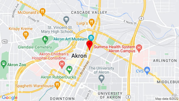 Google Map of 77 E. Mill Street , Akron, OH 44308