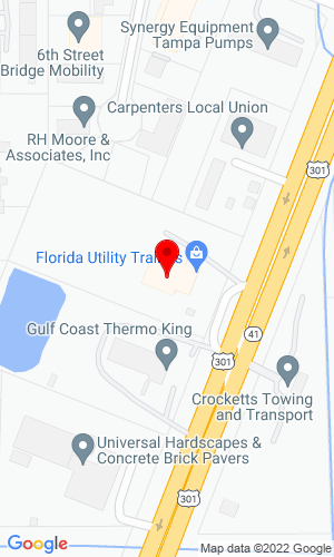 Google Map of Florida Utility Trailers, Inc. 7808 N US 301, Tampa, FL, 33637