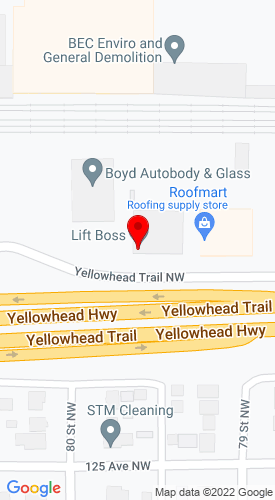 Google Map of Liftboss JCB 7912 Yellowhead Trail , Edmonton, Alberta, Canada, T5B 1G3