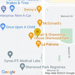 Map to Sherlock Holmes Sherwood Park provided by Google
